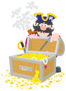 Pirate and treasure chest Stock Photography