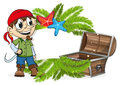 Pirate with a treasure chest Royalty Free Stock Photo