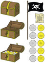 Pirate treasure illustrations of chest and gold clip art set Royalty Free Stock Photo
