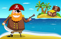 Pirate and treasure island cartoon with pistol sword in foreground with open chest in the background you can find Stock Photography