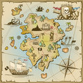 Pirate treasure island vector map Royalty Free Stock Photo