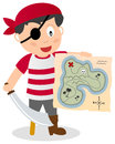 Pirate with treasure map a cartoon boy holding a sabre peg leg and a eye patch on white background Stock Image
