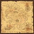 Pirate Treasure Map Hand Drawn Illustration Royalty Free Stock Photo