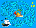 Pirate treasure maze children vector artwork Stock Photo