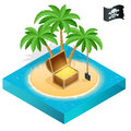 Pirate treasure on a tropical beach with palm trees and treasures. Royalty Free Stock Photo