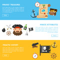 Pirate treasures and sea adventures vector banners
