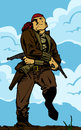 Pirate with two gun comic book style illustration of a Royalty Free Stock Photo