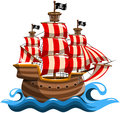 Pirate vessel cartoon navigating Royalty Free Stock Images