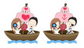 Pirate wedding vector cartoon, bride and groom hold a flower bou