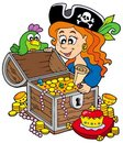 Pirate woman opening treasure chest Royalty Free Stock Image