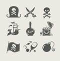 Pirates accessory set of icon Royalty Free Stock Photo