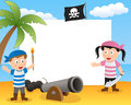 Pirates cannon photo frame post card or page for your scrapbook subject two cartoon pirate kids with a Stock Image