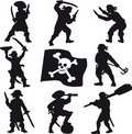 Pirates crew silhouettes Royalty Free Stock Photo