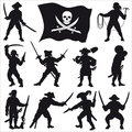 Pirates crew silhouettes set 2 Royalty Free Stock Photo