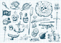Pirates doodles set Stock Images