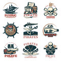 Pirates Emblem Set In Color Royalty Free Stock Photo