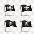 Pirates flags set transparent background Royalty Free Stock Photo