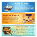 Pirates Horizontal Banners Set Royalty Free Stock Photo