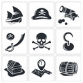 Pirates Icon collection Royalty Free Stock Photo