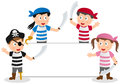 Pirates kids and banner a group of four cute pirate a blank empty space for your message Stock Photos