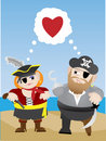 Pirates in love cartoon  illustration Stock Photo