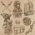 Pirates (no.4) - an hand drawn vector pack Royalty Free Stock Photo