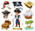 Pirates set. Boy, treasure chest, map, flag, ship and island. 3d vector icon Royalty Free Stock Photo