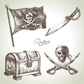 Pirates set hand drawn illustrations Royalty Free Stock Photos