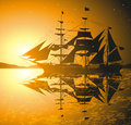 Pirates ship a against sunset Royalty Free Stock Photo