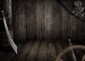 Pirates ship background with old jolly roger flag and saber Royalty Free Stock Photo