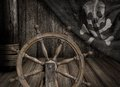 Pirates ship steering wheel with old jolly roger flag scene Royalty Free Stock Images