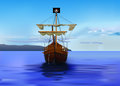 Pirates ship vector detailed eps gradient mesh used Royalty Free Stock Photo