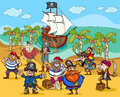 Pirates on treasure island cartoon Royalty Free Stock Photo