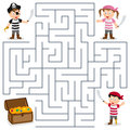 Pirates treasure maze for kids and box game children help the three find the way to the box Stock Photos