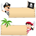 Pirates and wooden banner two cartoon pirate kids boy girl with blank banners isolated on white background Stock Photo