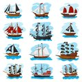 Piratic ship vector pirating boat vessel sailboat and powerful piratical speedboat illustration marine set of pirate