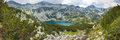 Pirin lake panorama of a in mountain called ribno in the summer bansko bulgaria Stock Image