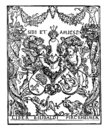 Pirkheimer`s Bookplate includes the coat of arms of Pirkheimer and Rieter, vintage engraving Royalty Free Stock Photo