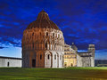 Pisa complex rise italy central landmark of town leaning tower of with cathedral and baptistery as single architectural at sunrise Royalty Free Stock Photo