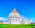 Pisa miracle square bapstistry cathedral duomo and leaning tower of pisa tuscany italy view unesco world heritage site europe Stock Photo
