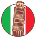 Pisa tower with italia flag as background all element are separated Royalty Free Stock Photo