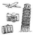 Pisa tower set of vector sketches Stock Photo