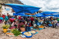 Pisac market peruvian andes peru july people in the in the at on july th Stock Image