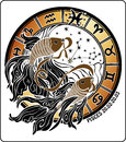 Pisces and the zodiac sign horoscope circle illus two gold fish hold mouth tape behind them are symbols of all signs on a white Stock Photos