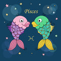 Pisces zodiac sign on night sky background with stars