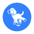 Pissing dog vector icon in black style for web