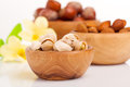 Pistachio almonds hazelnut with flowers in the wooden bowl Stock Images