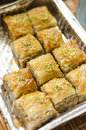 Pistachio baklava freshly made with nuts Royalty Free Stock Photo