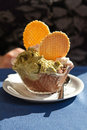 Pistachio and chocolate ice cream Stock Photography