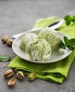 Pistachio ice cream and mint Royalty Free Stock Photo